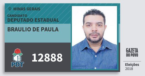 Santinho Braulio de Paula 12888 (PDT) Deputado Estadual | Minas Gerais | Eleições 2018