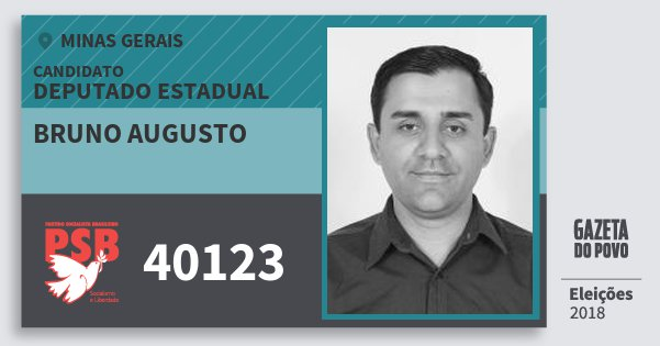 Santinho Bruno Augusto 40123 (PSB) Deputado Estadual | Minas Gerais | Eleições 2018