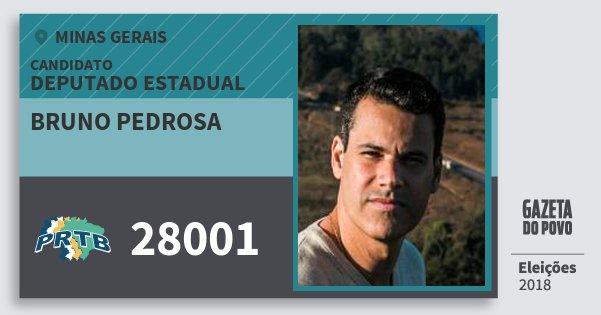 Santinho Bruno Pedrosa 28001 (PRTB) Deputado Estadual | Minas Gerais | Eleições 2018