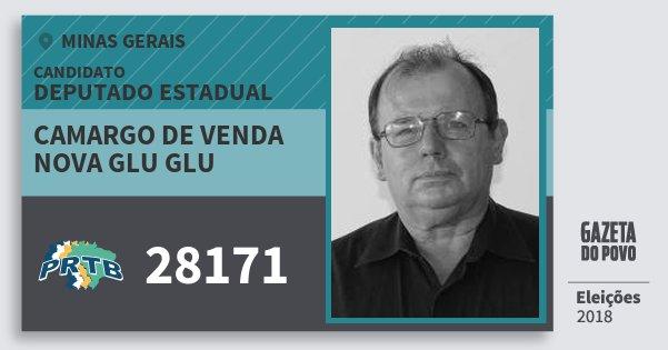 Santinho Camargo de Venda Nova Glu Glu 28171 (PRTB) Deputado Estadual | Minas Gerais | Eleições 2018