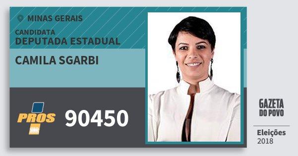 Santinho Camila Sgarbi 90450 (PROS) Deputada Estadual | Minas Gerais | Eleições 2018