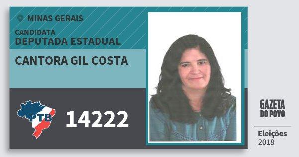 Santinho Cantora Gil Costa 14222 (PTB) Deputada Estadual | Minas Gerais | Eleições 2018