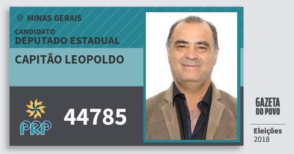 Santinho Capitão Leopoldo 44785 (PRP) Deputado Estadual | Minas Gerais | Eleições 2018