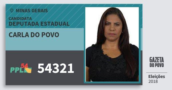 Santinho Carla do Povo 54321 (PPL) Deputada Estadual | Minas Gerais | Eleições 2018