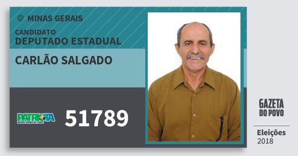 Santinho Carlão Salgado 51789 (PATRI) Deputado Estadual | Minas Gerais | Eleições 2018