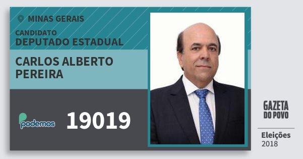Santinho Carlos Alberto Pereira 19019 (PODE) Deputado Estadual | Minas Gerais | Eleições 2018