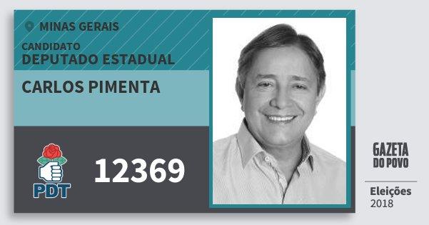 Santinho Carlos Pimenta 12369 (PDT) Deputado Estadual | Minas Gerais | Eleições 2018