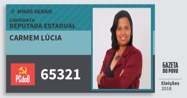 Santinho Carmem Lúcia 65321 (PC do B) Deputada Estadual | Minas Gerais | Eleições 2018
