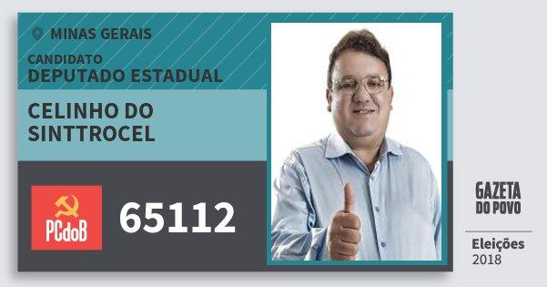 Santinho Celinho do Sinttrocel 65112 (PC do B) Deputado Estadual | Minas Gerais | Eleições 2018