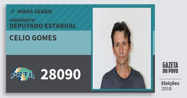 Santinho Celio Gomes 28090 (PRTB) Deputado Estadual | Minas Gerais | Eleições 2018