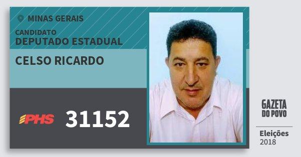 Santinho Celso Ricardo 31152 (PHS) Deputado Estadual | Minas Gerais | Eleições 2018