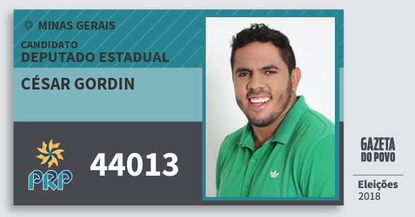 Santinho César Gordin 44013 (PRP) Deputado Estadual | Minas Gerais | Eleições 2018