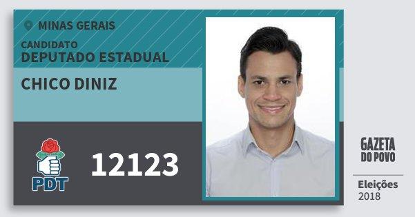 Santinho Chico Diniz 12123 (PDT) Deputado Estadual | Minas Gerais | Eleições 2018