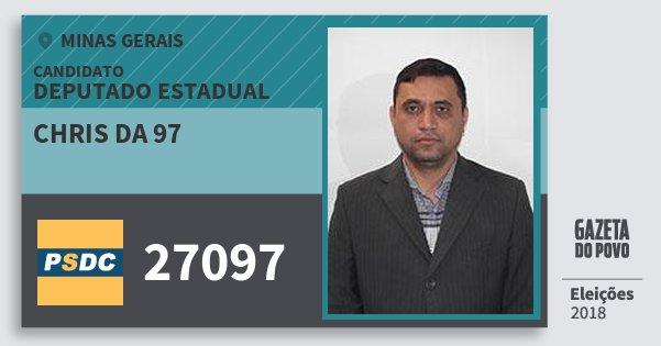 Santinho Chris da 97 27097 (DC) Deputado Estadual | Minas Gerais | Eleições 2018
