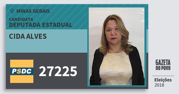 Santinho Cida Alves 27225 (DC) Deputada Estadual | Minas Gerais | Eleições 2018