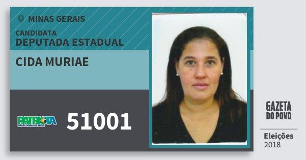 Santinho Cida Muriae 51001 (PATRI) Deputada Estadual | Minas Gerais | Eleições 2018