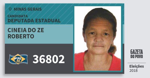 Santinho Cineia do Ze Roberto 36802 (PTC) Deputada Estadual | Minas Gerais | Eleições 2018
