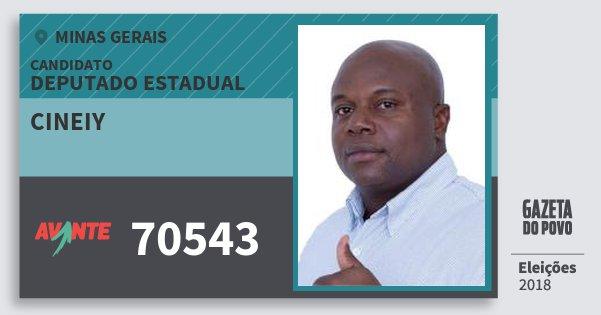 Santinho Cineiy 70543 (AVANTE) Deputado Estadual | Minas Gerais | Eleições 2018
