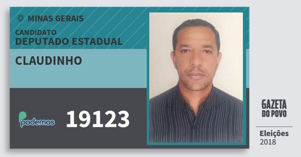 Santinho Claudinho 19123 (PODE) Deputado Estadual | Minas Gerais | Eleições 2018