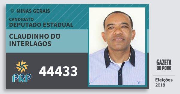 Santinho Claudinho do Interlagos 44433 (PRP) Deputado Estadual | Minas Gerais | Eleições 2018