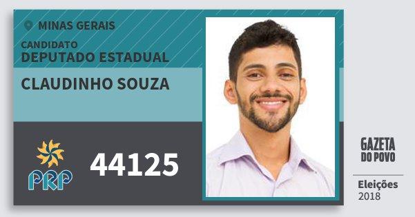 Santinho Claudinho Souza 44125 (PRP) Deputado Estadual | Minas Gerais | Eleições 2018