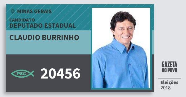 Santinho Claudio Burrinho 20456 (PSC) Deputado Estadual | Minas Gerais | Eleições 2018