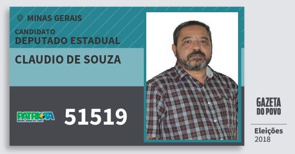 Santinho Claudio de Souza 51519 (PATRI) Deputado Estadual | Minas Gerais | Eleições 2018