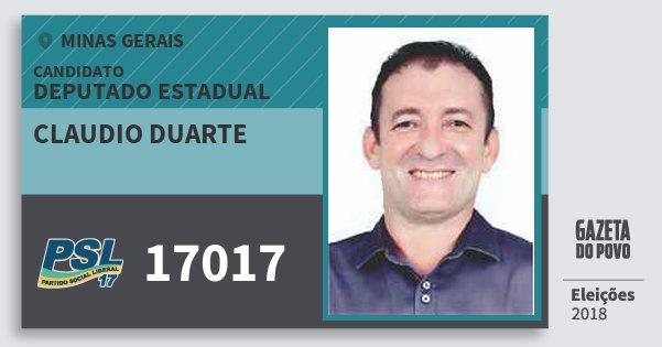 Santinho Claudio Duarte 17017 (PSL) Deputado Estadual | Minas Gerais | Eleições 2018