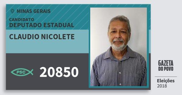 Santinho Claudio Nicolete 20850 (PSC) Deputado Estadual | Minas Gerais | Eleições 2018