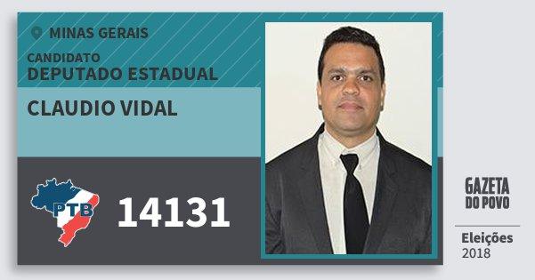 Santinho Claudio Vidal 14131 (PTB) Deputado Estadual | Minas Gerais | Eleições 2018