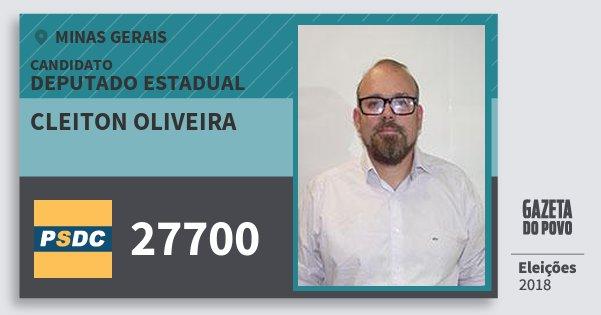 Santinho Cleiton Oliveira 27700 (DC) Deputado Estadual | Minas Gerais | Eleições 2018