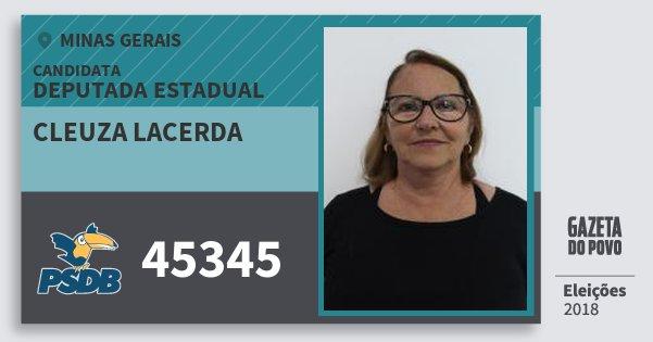 Santinho Cleuza Lacerda 45345 (PSDB) Deputada Estadual | Minas Gerais | Eleições 2018