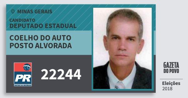 Santinho Coelho do Auto Posto Alvorada 22244 (PR) Deputado Estadual | Minas Gerais | Eleições 2018