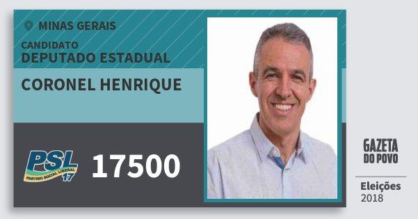 Santinho Coronel Henrique 17500 (PSL) Deputado Estadual | Minas Gerais | Eleições 2018
