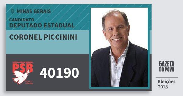 Santinho Coronel Piccinini 40190 (PSB) Deputado Estadual | Minas Gerais | Eleições 2018
