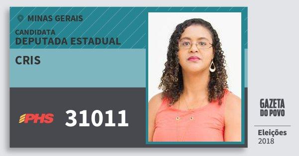 Santinho Cris 31011 (PHS) Deputada Estadual | Minas Gerais | Eleições 2018