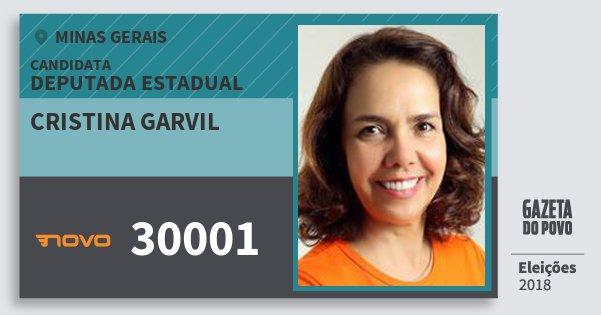 Santinho Cristina Garvil 30001 (NOVO) Deputada Estadual | Minas Gerais | Eleições 2018