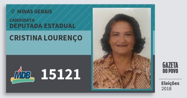 Santinho Cristina Lourenço 15121 (MDB) Deputada Estadual | Minas Gerais | Eleições 2018