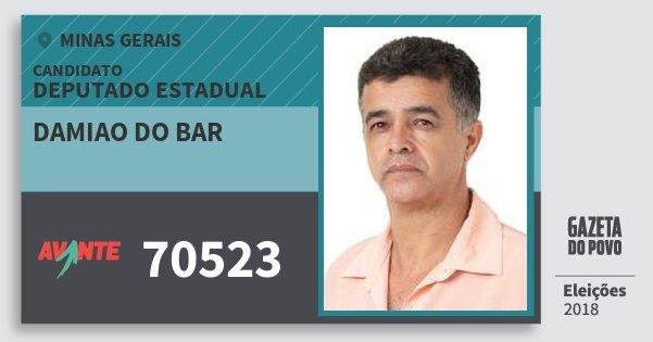 Santinho Damiao do Bar 70523 (AVANTE) Deputado Estadual | Minas Gerais | Eleições 2018