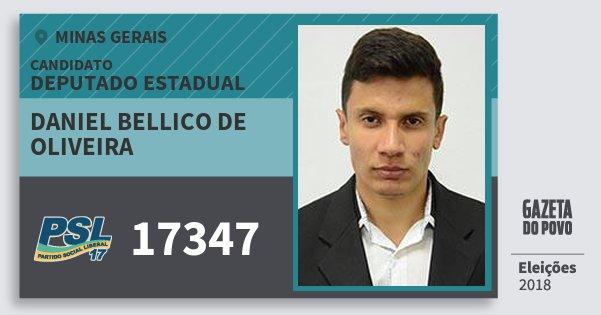 Santinho Daniel Bellico de Oliveira 17347 (PSL) Deputado Estadual   Minas Gerais   Eleições 2018