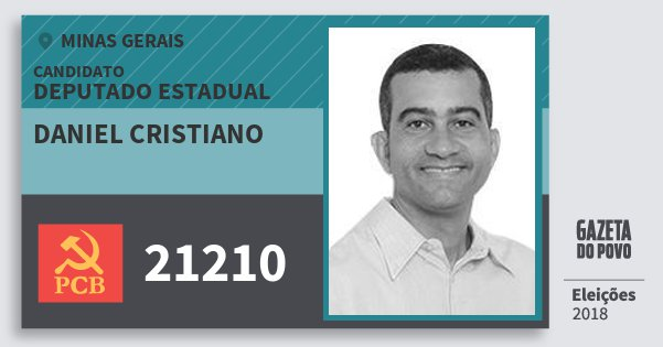 Santinho Daniel Cristiano 21210 (PCB) Deputado Estadual | Minas Gerais | Eleições 2018
