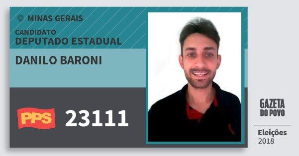 Santinho Danilo Baroni 23111 (PPS) Deputado Estadual | Minas Gerais | Eleições 2018
