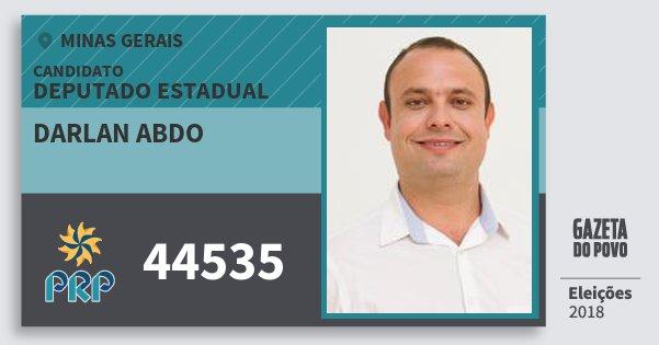 Santinho Darlan Abdo 44535 (PRP) Deputado Estadual | Minas Gerais | Eleições 2018