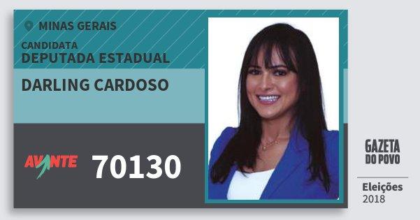Santinho Darling Cardoso 70130 (AVANTE) Deputada Estadual | Minas Gerais | Eleições 2018