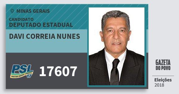 Santinho Davi Correia Nunes 17607 (PSL) Deputado Estadual | Minas Gerais | Eleições 2018