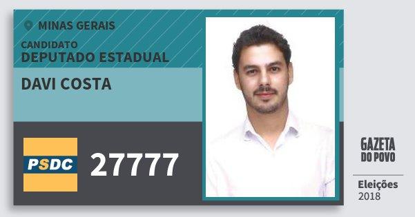 Santinho Davi Costa 27777 (DC) Deputado Estadual | Minas Gerais | Eleições 2018
