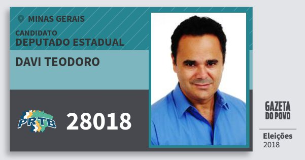 Santinho Davi Teodoro 28018 (PRTB) Deputado Estadual | Minas Gerais | Eleições 2018
