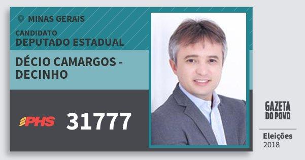 Santinho Décio Camargos - Decinho 31777 (PHS) Deputado Estadual | Minas Gerais | Eleições 2018