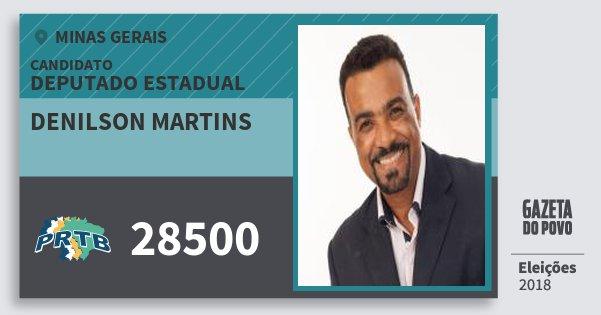 Santinho Denilson Martins 28500 (PRTB) Deputado Estadual | Minas Gerais | Eleições 2018