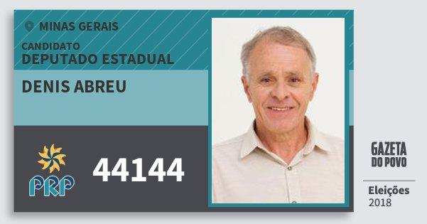 Santinho Denis Abreu 44144 (PRP) Deputado Estadual | Minas Gerais | Eleições 2018